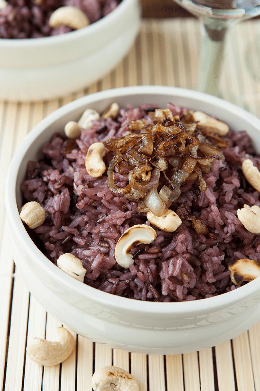 Paarse rijst met cashewnoten Oxfam recept