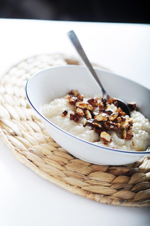 Rijstpap van kokosmelk met amandelnootjes Oxfam recept