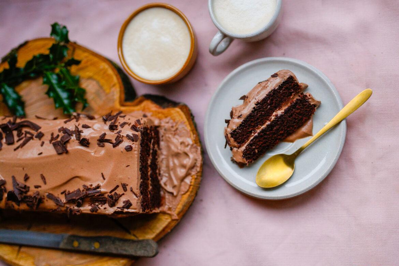 Kerststronk Met Bite To Fight Chocolade Bovenzicht