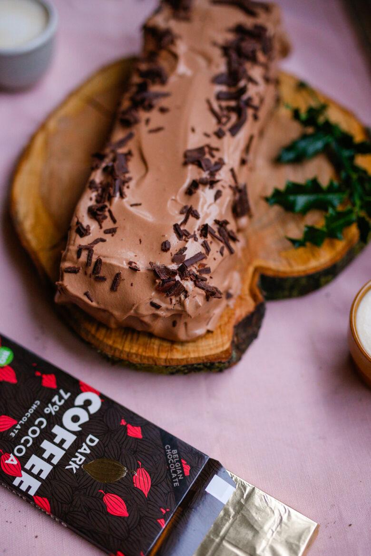 kerststronk met bio chocolade met koffie